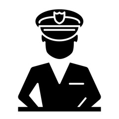 Policeman solid icon. Police officer illustration isolated on white. Character glyph style design, designed for web and app. Eps 10.