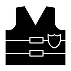 Bullet proof solid icon. Police flak jacket illustration isolated on white. Protection glyph style design, designed for web and app. Eps 10.