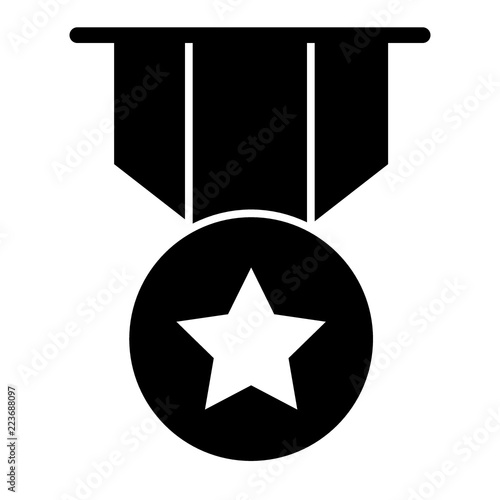 Gold star medal solid icon  Award with the star illustration