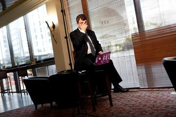 UKIP leader Gerard Batten awaits a television interview in Birmingham