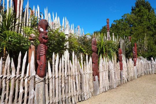 Maori art fence, Hamilton Gardens, New Zealand