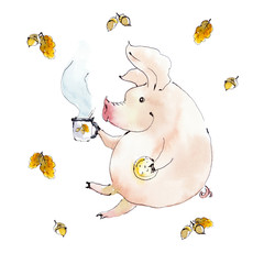 Autumn tea time. Pig with a cup of tea. Watercolor illustration