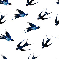 There are wonderful blue swallows on a white background. You can use this seamless pattern for fabrics and postcards.