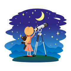 Girl observes the stars in a telescope.