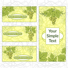 Set of Shopping Tags, Labels, Stickers or Business Cards with Green Grape Leaves and Berries. Eps10, Contains Transparencies. Vector