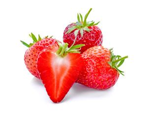 Strawberry fruit isolated on white background.