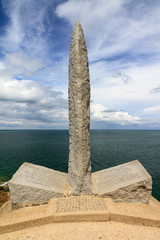 Beautiful view of the WW2 Ranger Monument at Pointe du Hoc near Omaha beach, Normandy, France.