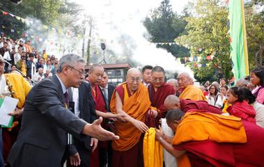 Tibetan spiritual leader the Dalai Lama arrives for his visit to the Tibet Institute Rikon in Rikon