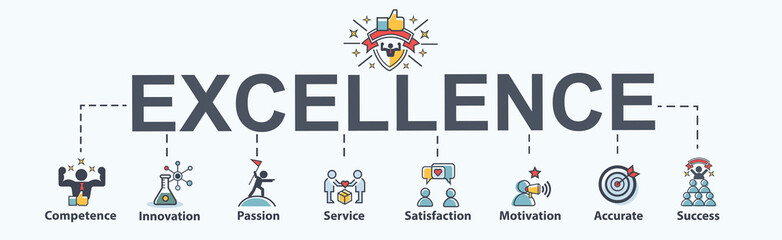 Excellence banner web icon for business, competence, innovation, passion, service and success for the best. minimal vector infographic concept.