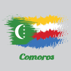 Brush style color flag of Comoros, yellow white red and blue with  green chevron, crescent and star. name text Comoros.