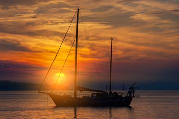 Yacht in Mediterranean during sunset