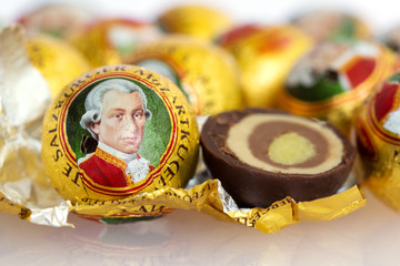 he Mozartkugel, a sweet confection made of chocolate and marzipan, is a culinary specialty of Salzburg named after the famous musican Wolfgang Amadeus Mozart