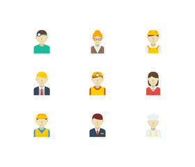 Profession icons set. White worker and profession icons with safety worker, hotel receptionist and manager. Set of doctor for web app logo UI design.