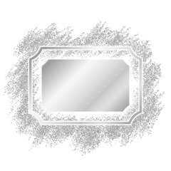 Silver frame. Beautiful glitter design. Vintage style decorative border, isolated white background. Deco elegant luxury framework for decoration, photo, Christmas banner. Vector illustration