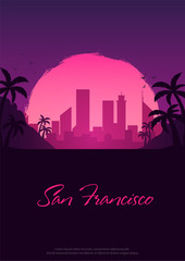 Vintage Poster with old car. Sunset at the California. Palms and City Landscape. Vector illustration.