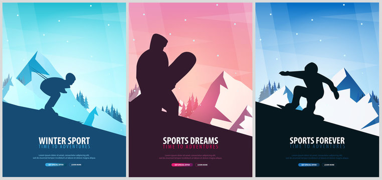 Set banners of Winter Sport. Ski and Snowboard. Mountain landscape. Snowboarder in motion. Vector illustration.