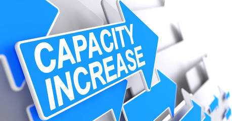 Capacity Increase - Message on the Blue Cursor. 3D.