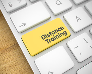 Distance Training - Message on the Yellow Keyboard Keypad. 3D.