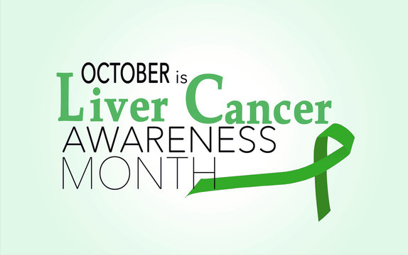 October is liver cancer awareness month, background with green ribbon