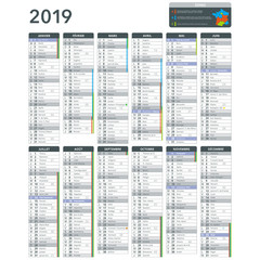 calendrier complet personnalisable 2019