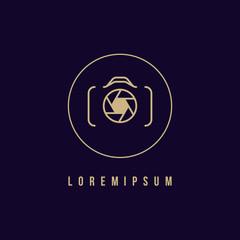 Camera icon, photography logo. Circle design, vector illustration