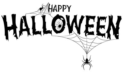 Happy Halloween Text Banner - Black and White Illustration with Spiders on Web, Vector