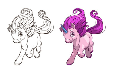 Cute cartoon pretty unicorn. Outline and colored versions.