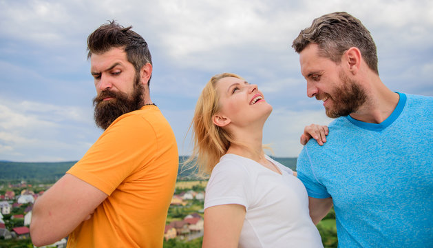 What to do when you feel rejected. Couple and rejected partner. How to get over breakup for guys. Ruined relationships. She made her choice. Woman picked boyfriend. Girl stand between two men
