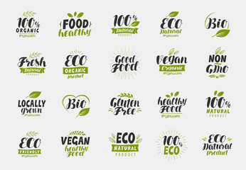 Set of eco food friendly and organic labels. Vegan, ecology icons. Vector