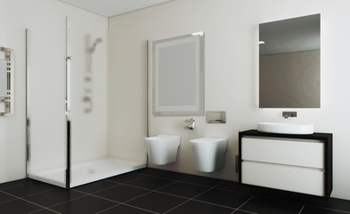 Spacious bathroom in gray tones with heated floors, freestanding tub. 3D rendering. Mockup.   Empty paintings