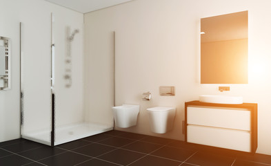 Modern bathroom with large window. 3D rendering. Sunset.