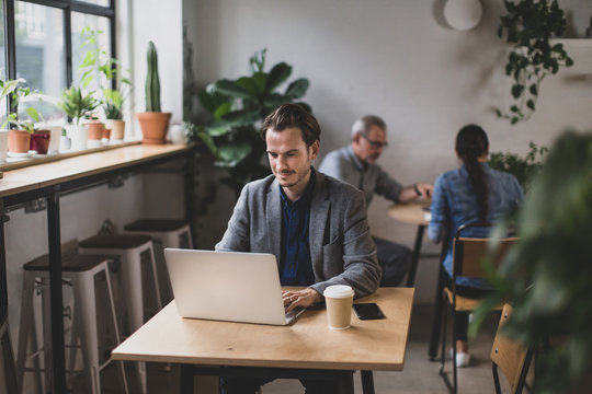 Freelance businessman working in a cafe