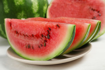 sliced watermelon in a plate