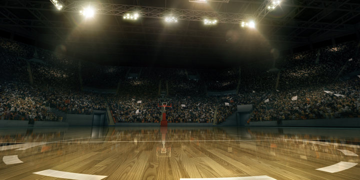 Professional basketball arena in 3D. Tribunes with sport fans