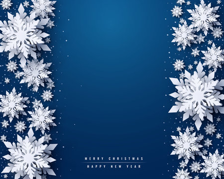 Vector Merry Christmas and Happy New Year greeting card design with white layered paper cut snowflakes on blue background. Seasonal Christmas and New Year holidays paper art banner, poster template