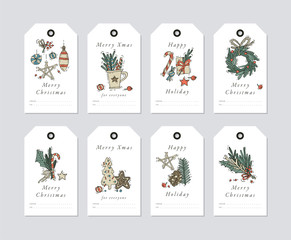 Vector linear design Christmas greetings elements on white background. Christmas tags set with typography and colorful icon.