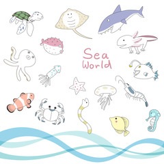sea animal character set