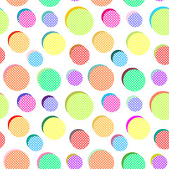 Seamless vector abstract pattern with colored balls on white background