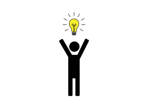 Cheering stick figure with light bulb above it's head illustration