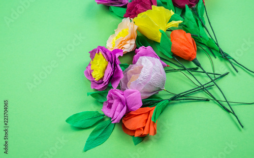 Tools Making Crepe Paper Flowers Green Background Stock Photo And