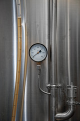 Stainless tank for fermentation in a beer brewery.