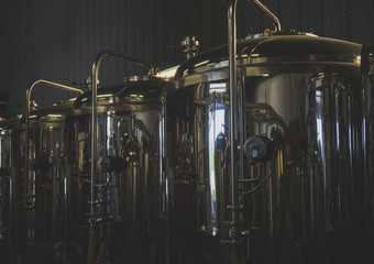 Papiers peints Biere, Cidre Stainless tanks for fermentation in a beer brewery.