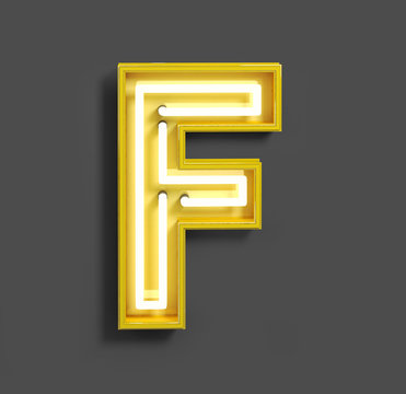 Bright Neon Font with fluorescent yellow tubes. Letter F. Night Show Alphabet. 3d Rendering Isolated on Gray Background