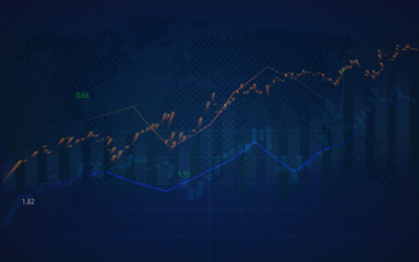 World stock market graph with indicator and volumes in graphic design