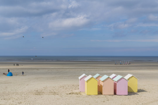 Les cabines de plage sur la plage de Berck-sur-mer (Côte d'Opale)