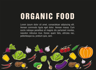 Advertising poster for the grocery store. Flyer for organic food on dark background. Seasonal vegetables and healthy food. Used for advertising, label and price tags in the store or Seasonal sales