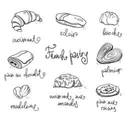 French pastry. Traditional baked desserts.  Black and white vector drawing
