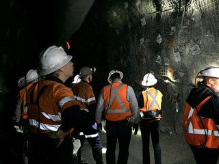 Mining analysts inspect a high grade nickel copper deposit at Independence Group's Nova nickel mine in Western Australia