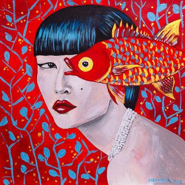 dipinto rosso bella donna con pesce