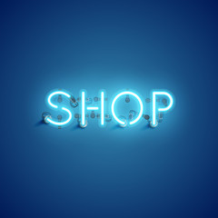 'SHOP' neon font sign, vector illustration
